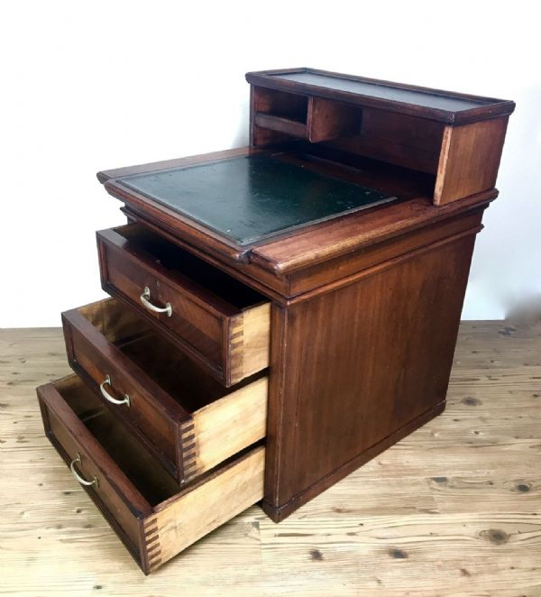 Antique Wooden Ships Desk / Campaign Style / Navy Furniture / Work Station